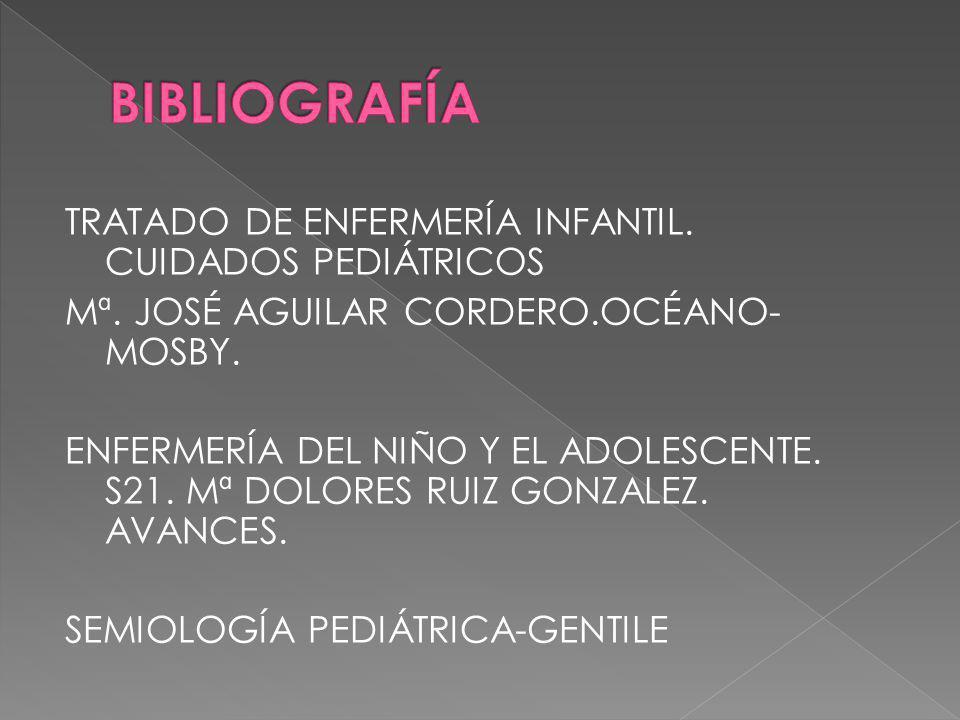 TRATADO DE ENFERMERÍA INFANTIL. CUIDADOS PEDIÁTRICOS Mª. JOSÉ AGUILAR CORDERO.OCÉANO- MOSBY. ENFERMERÍA DEL NIÑO Y EL ADOLESCENTE. S21. Mª DOLORES RUI
