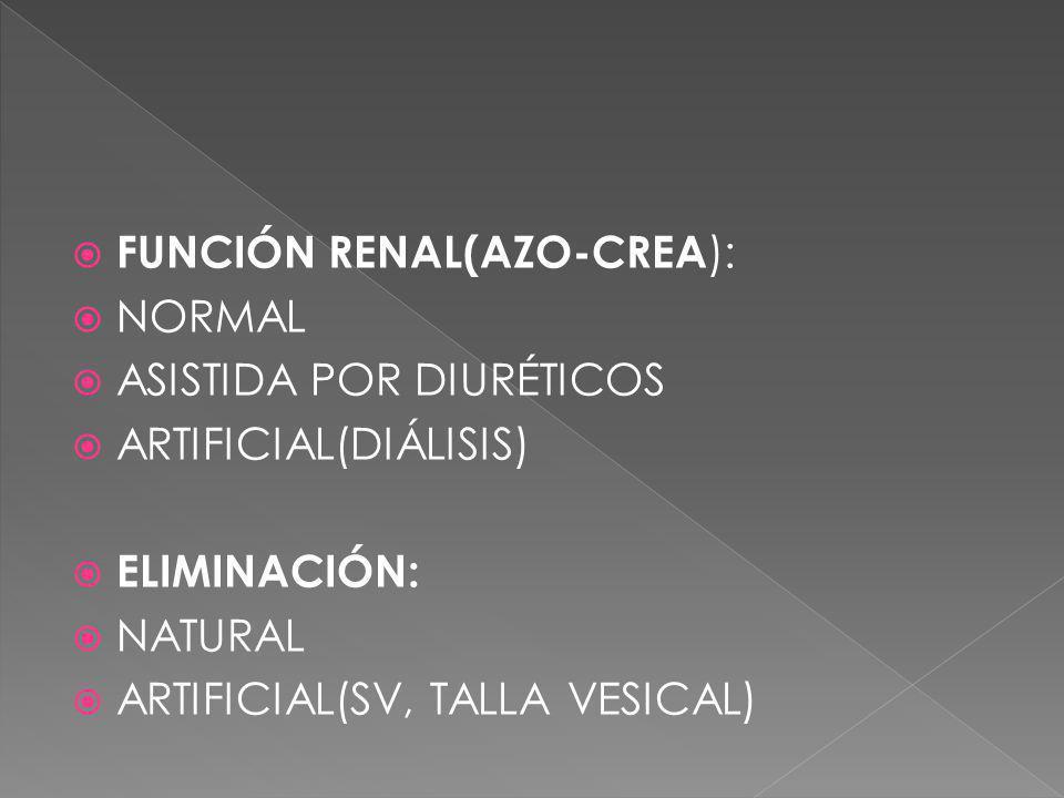 FUNCIÓN RENAL(AZO-CREA ): NORMAL ASISTIDA POR DIURÉTICOS ARTIFICIAL(DIÁLISIS) ELIMINACIÓN: NATURAL ARTIFICIAL(SV, TALLA VESICAL)