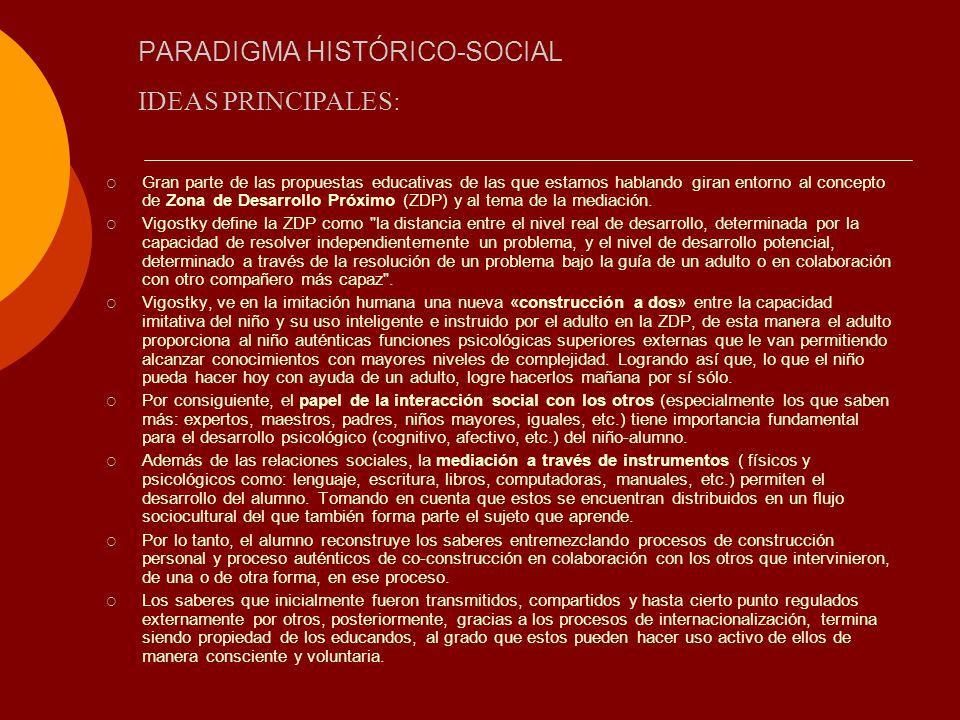 PARADIGMA HISTÓRICO-SOCIAL Gran parte de las propuestas educativas de las que estamos hablando giran entorno al concepto de Zona de Desarrollo Próximo