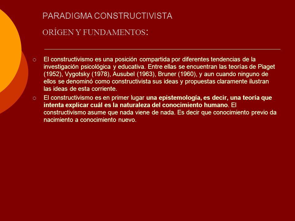 PARADIGMA CONSTRUCTIVISTA El constructivismo es una posición compartida por diferentes tendencias de la investigación psicológica y educativa. Entre e
