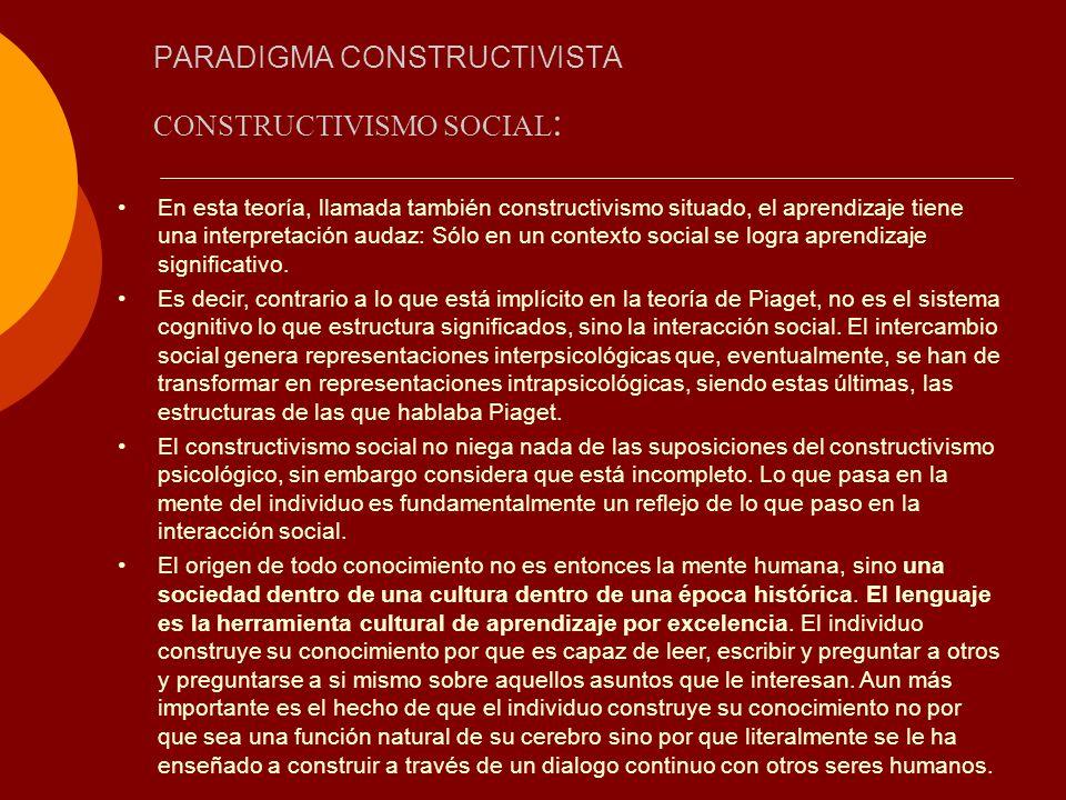 PARADIGMA CONSTRUCTIVISTA CONSTRUCTIVISMO SOCIAL : En esta teoría, llamada también constructivismo situado, el aprendizaje tiene una interpretación au