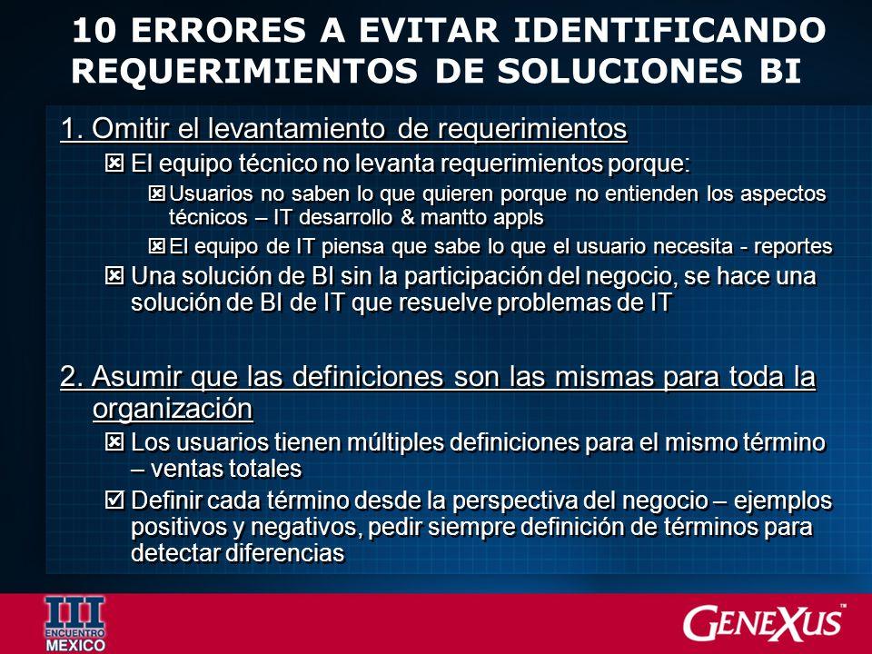 10 ERRORES A EVITAR IDENTIFICANDO REQUERIMIENTOS DE SOLUCIONES BI 1.