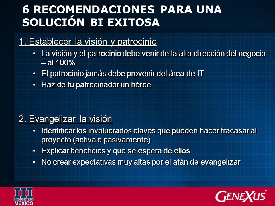 6 RECOMENDACIONES PARA UNA SOLUCIÓN BI EXITOSA 1.