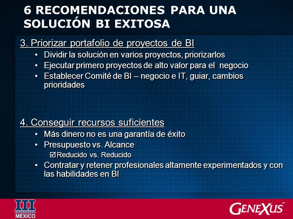 6 RECOMENDACIONES PARA UNA SOLUCIÓN BI EXITOSA 3.
