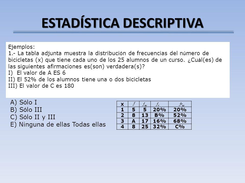 ESTADÍSTICA DESCRIPTIVA x 15520% 2813B%52% 3A1716%68% 482532%C% Ejemplos: 1.- La tabla adjunta muestra la distribuci ó n de frecuencias del n ú mero d