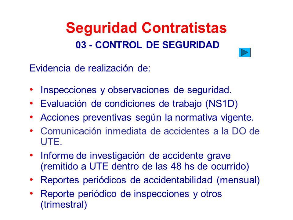 Seguridad Contratistas 03 - CONTROL DE SEGURIDAD Evidencia de realización de: Inspecciones y observaciones de seguridad. Evaluación de condiciones de