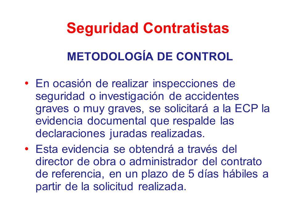 Seguridad Contratistas METODOLOGÍA DE CONTROL En ocasión de realizar inspecciones de seguridad o investigación de accidentes graves o muy graves, se s