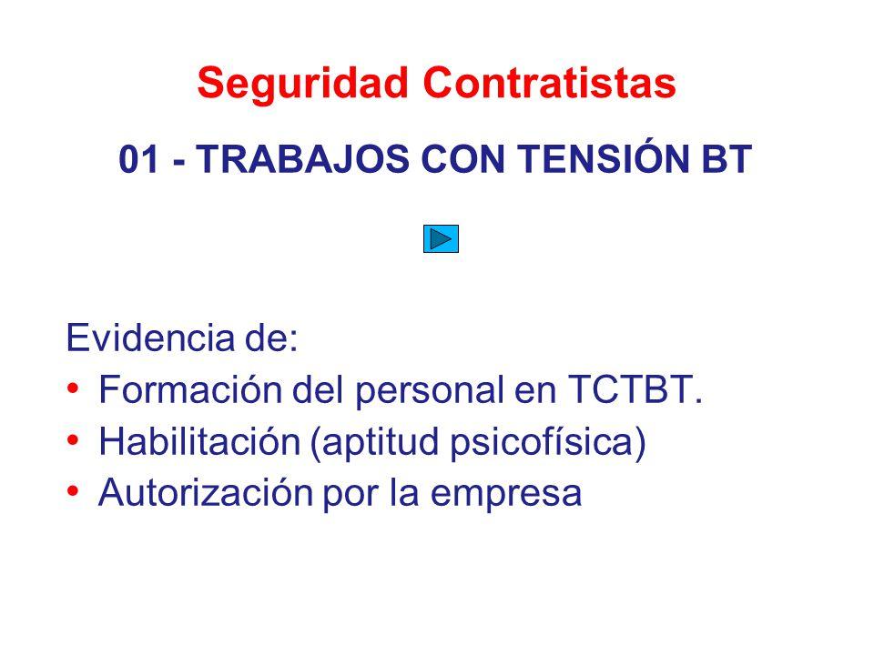 Seguridad Contratistas 01 - TRABAJOS CON TENSIÓN BT Evidencia de: Formación del personal en TCTBT. Habilitación (aptitud psicofísica) Autorización por