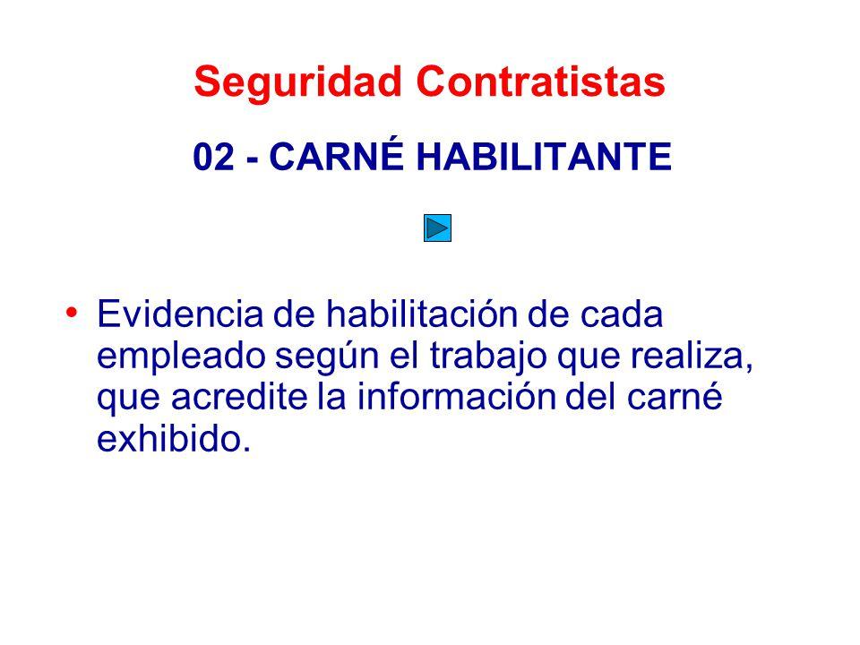 Seguridad Contratistas 02 - CARNÉ HABILITANTE Evidencia de habilitación de cada empleado según el trabajo que realiza, que acredite la información del