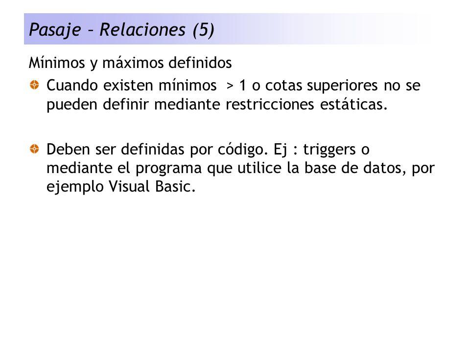 Pasaje – Relaciones (5) Mínimos y máximos definidos Cuando existen mínimos > 1 o cotas superiores no se pueden definir mediante restricciones estática