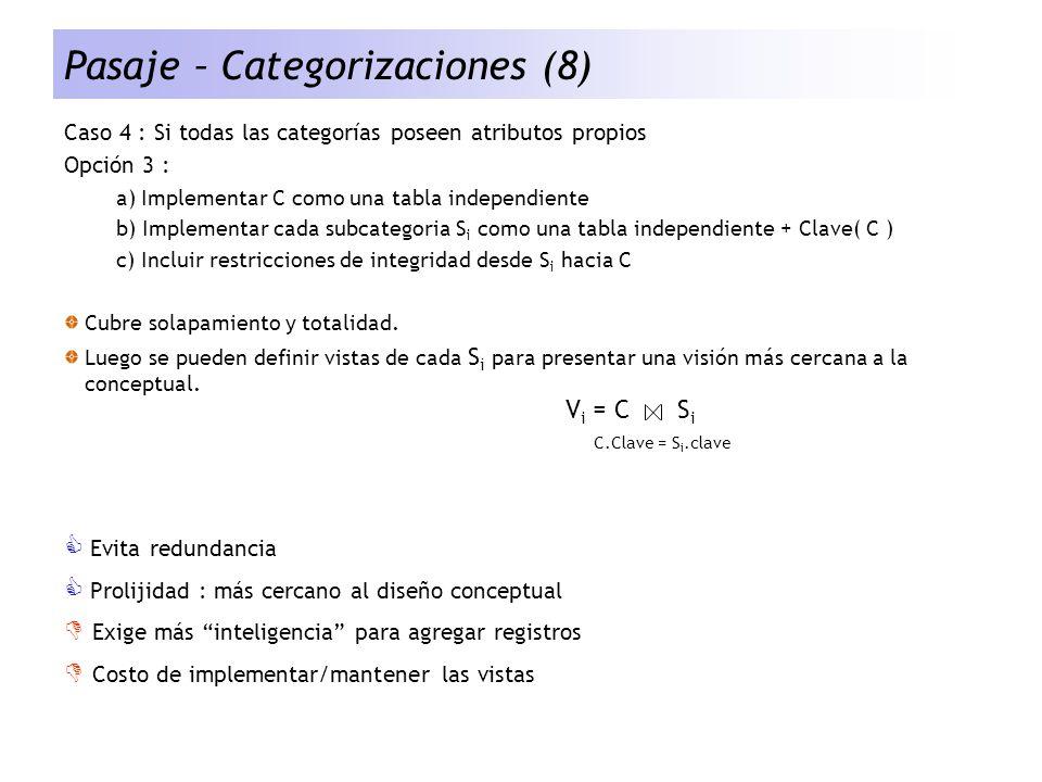 Pasaje – Categorizaciones (8) Caso 4 : Si todas las categorías poseen atributos propios Opción 3 : a) Implementar C como una tabla independiente b) Im