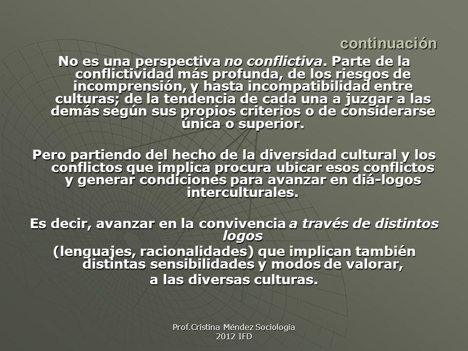 Prof.Cristina Méndez Sociología 2012 IFD continuación No es una perspectiva no conflictiva.