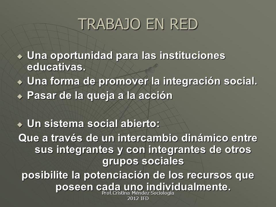 TRABAJO EN RED Una oportunidad para las instituciones educativas.
