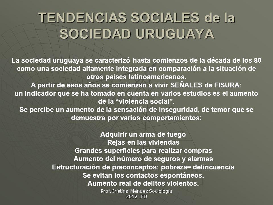 Prof.Cristina Méndez Sociología 2012 IFD TENDENCIAS SOCIALES de la SOCIEDAD URUGUAYA La sociedad uruguaya se caracterizó hasta comienzos de la década de los 80 como una sociedad altamente integrada en comparación a la situación de otros países latinoamericanos.