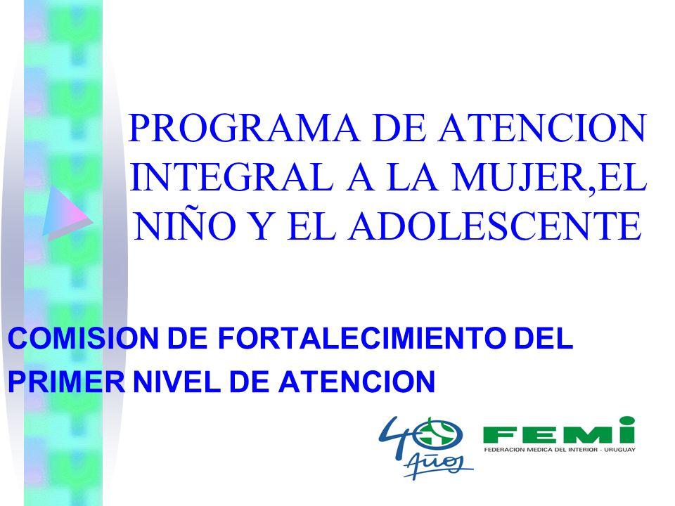 PROGRAMA DE ATENCION INTEGRAL A LA MUJER,EL NIÑO Y EL ADOLESCENTE COMISION DE FORTALECIMIENTO DEL PRIMER NIVEL DE ATENCION