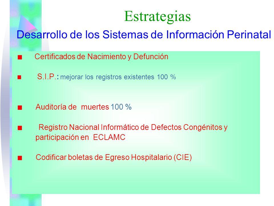 Estrategias Desarrollo de los Sistemas de Información Perinatal Certificados de Nacimiento y Defunción S.I.P.: mejorar los registros existentes 100 %