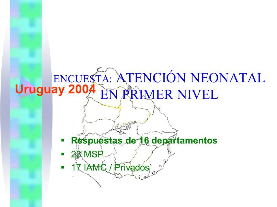 ENCUESTA: ATENCIÓN NEONATAL EN PRIMER NIVEL Uruguay 2004 Respuestas de 16 departamentos 23 MSP 17 IAMC / Privados