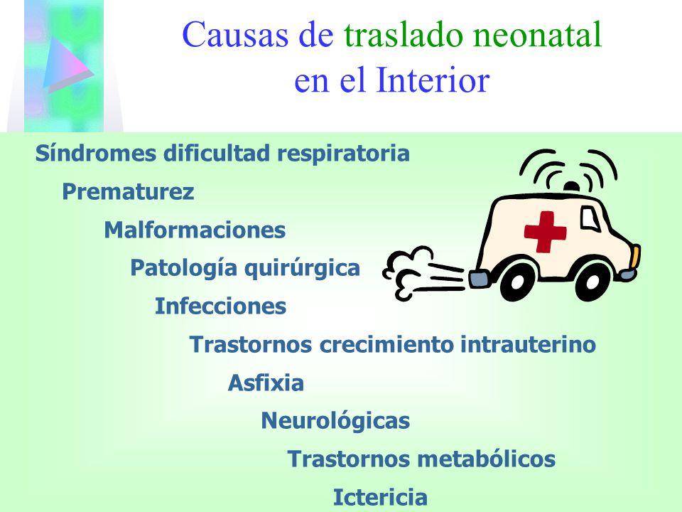 Síndromes dificultad respiratoria Prematurez Malformaciones Patología quirúrgica Infecciones Trastornos crecimiento intrauterino Asfixia Neurológicas