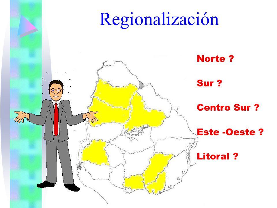 Regionalización Norte ? Sur ? Centro Sur ? Este -Oeste ? Litoral ?