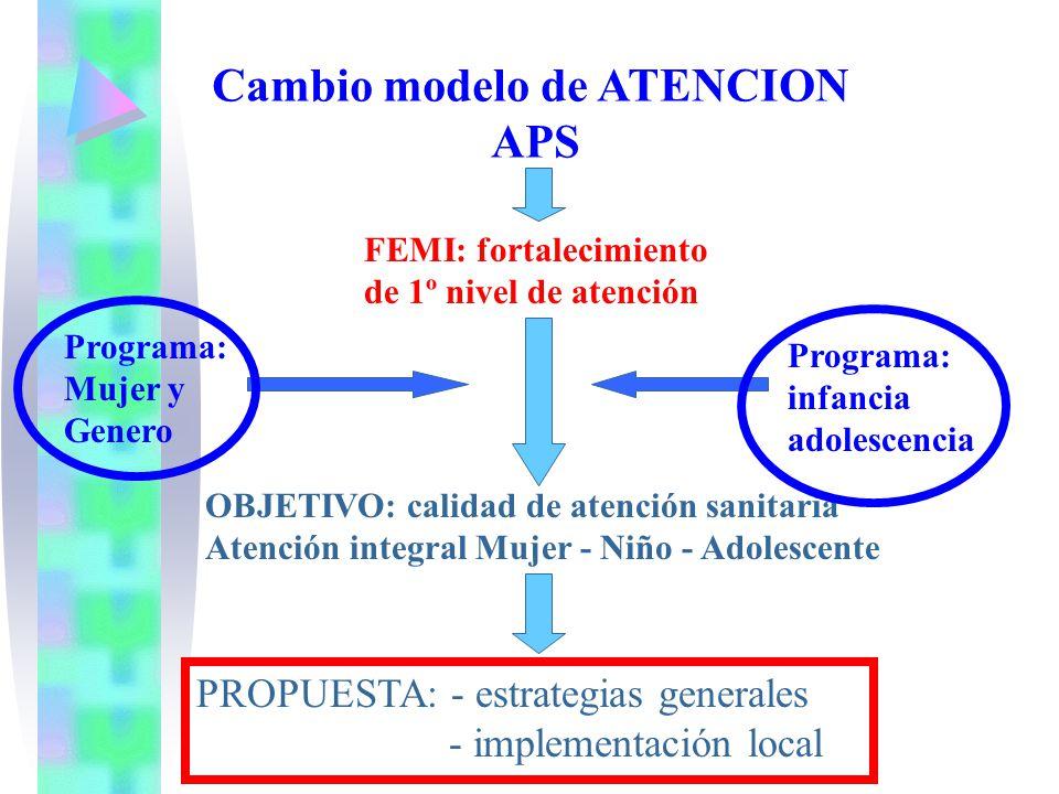 Cambio modelo de ATENCION APS FEMI: fortalecimiento de 1º nivel de atención Programa: Mujer y Genero Programa: infancia adolescencia OBJETIVO: calidad