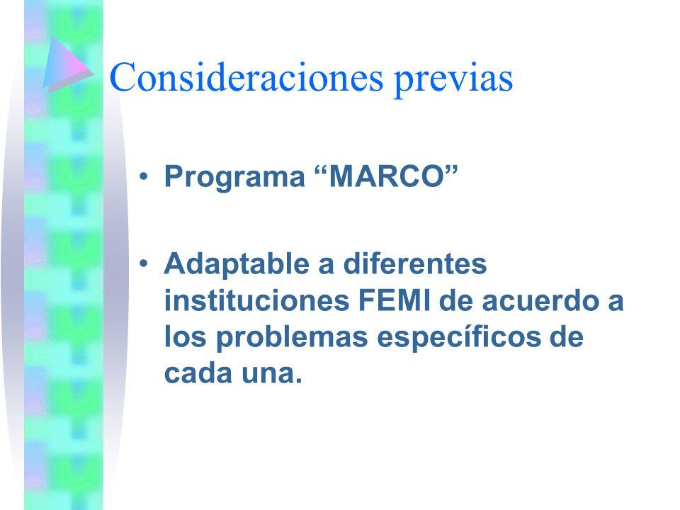 Consideraciones previas Programa MARCO Adaptable a diferentes instituciones FEMI de acuerdo a los problemas específicos de cada una.