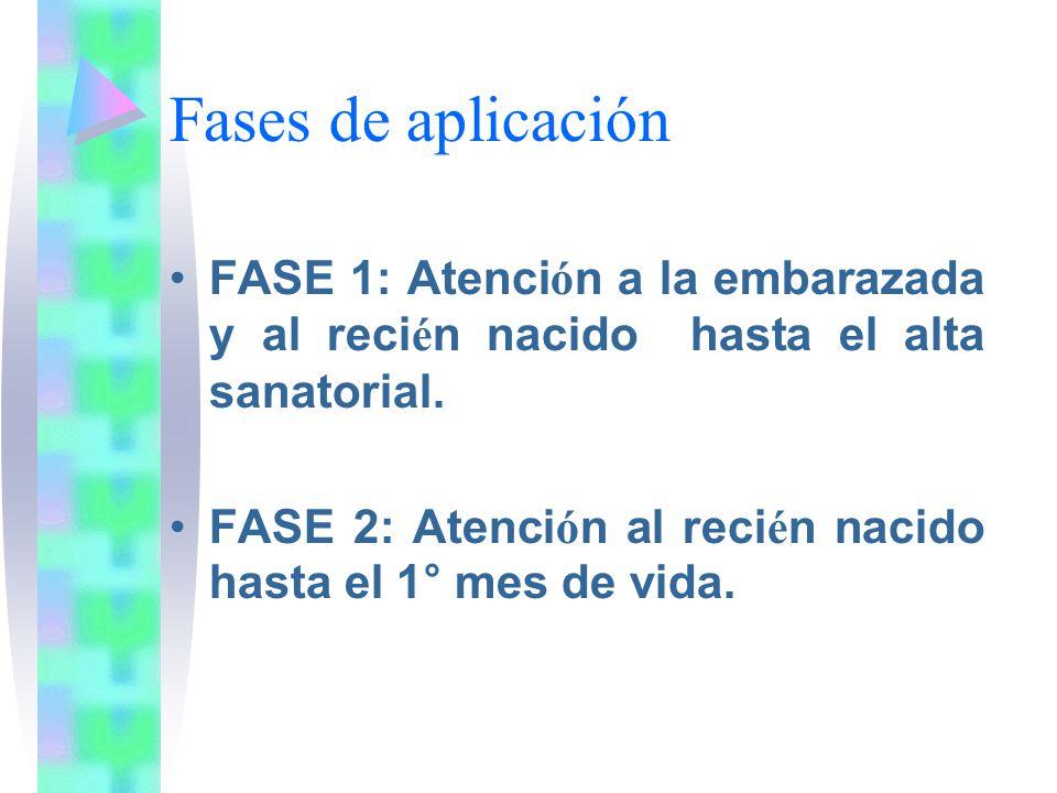 Fases de aplicación FASE 1: Atenci ó n a la embarazada y al reci é n nacido hasta el alta sanatorial. FASE 2: Atenci ó n al reci é n nacido hasta el 1