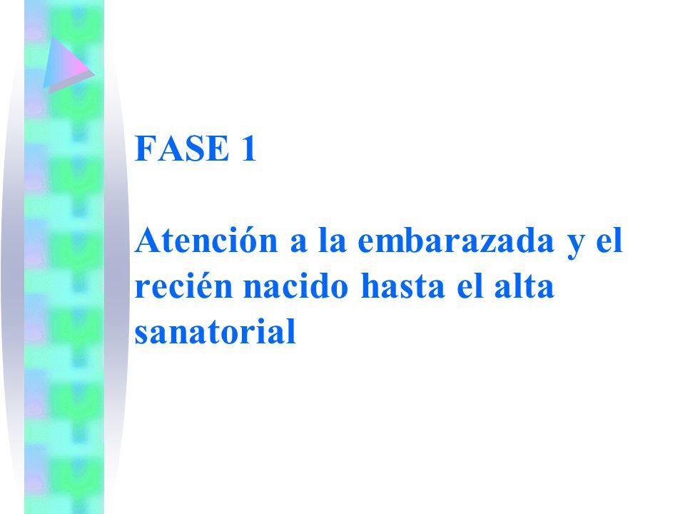 FASE 1 Atención a la embarazada y el recién nacido hasta el alta sanatorial
