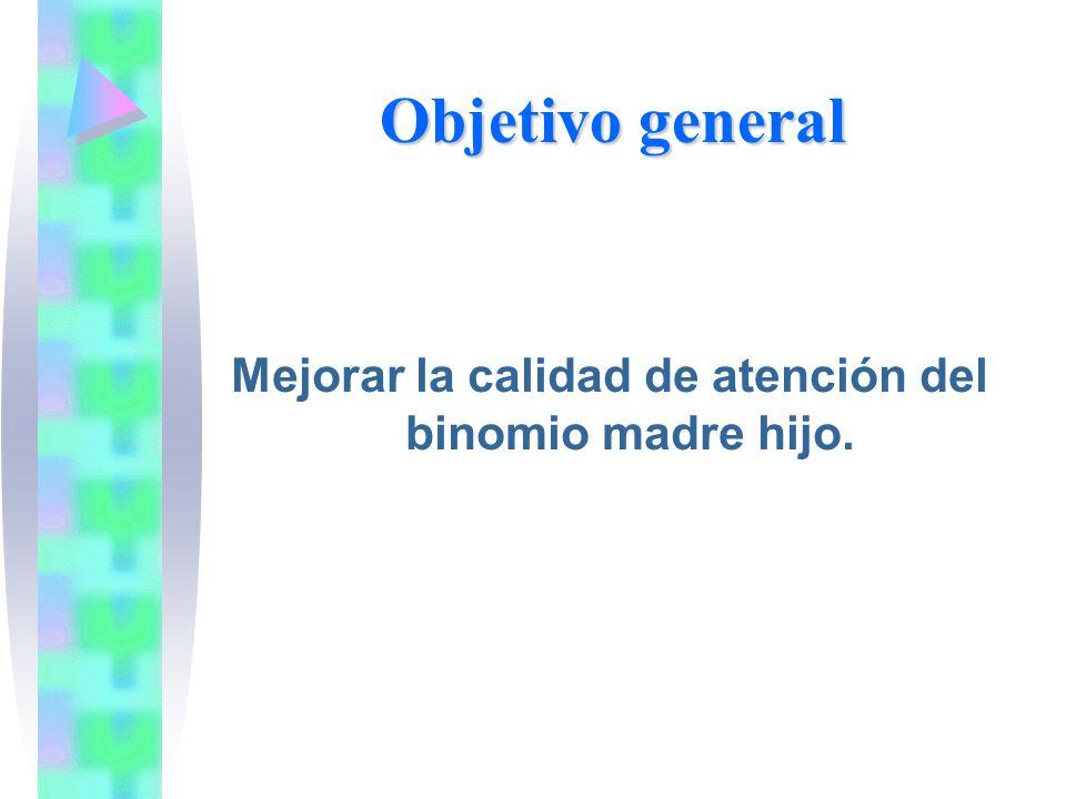 Objetivo general Mejorar la calidad de atención del binomio madre hijo.