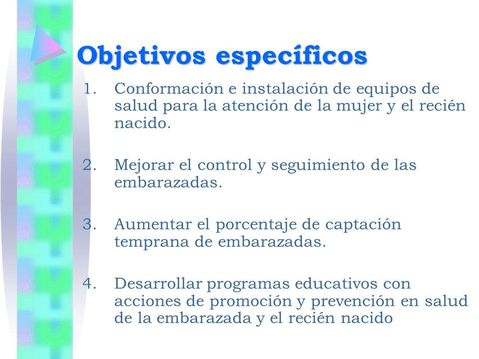 Objetivos específicos 1.Conformación e instalación de equipos de salud para la atención de la mujer y el recién nacido. 2.Mejorar el control y seguimi