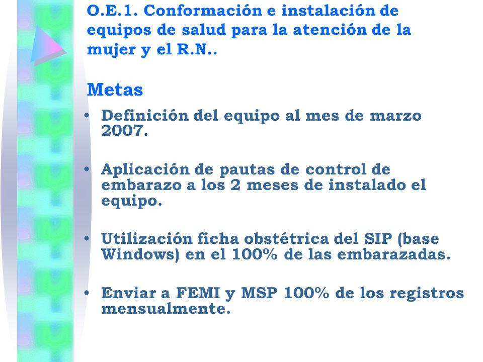 Definición del equipo al mes de marzo 2007. Aplicación de pautas de control de embarazo a los 2 meses de instalado el equipo. Utilización ficha obstét