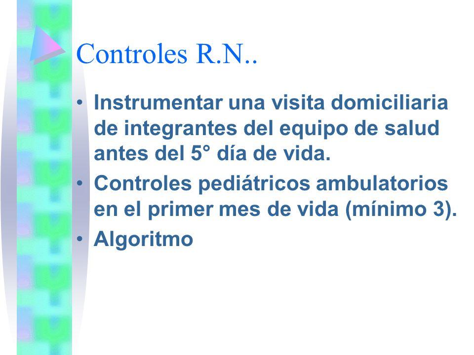 Controles R.N.. Instrumentar una visita domiciliaria de integrantes del equipo de salud antes del 5° día de vida. Controles pediátricos ambulatorios e