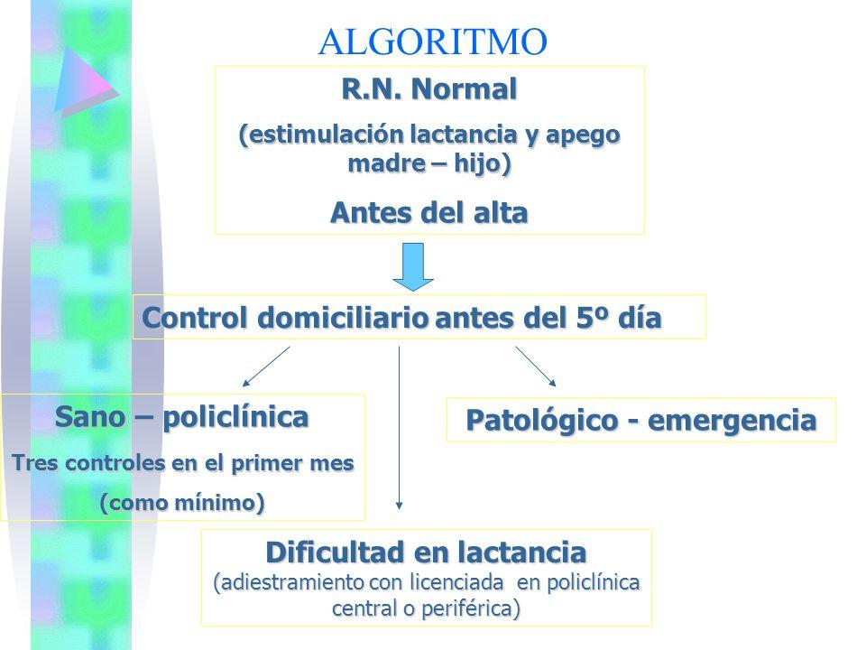 ALGORITMO R.N. Normal (estimulación lactancia y apego madre – hijo) Antes del alta Control domiciliario antes del 5º día Sano – policlínica Tres contr