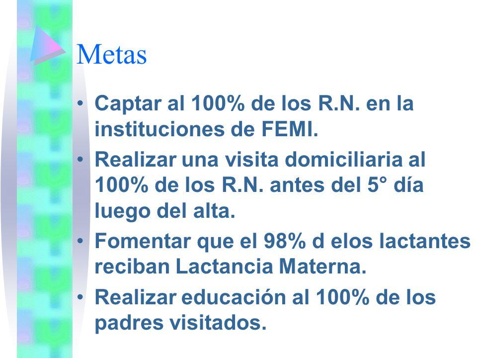 Metas Captar al 100% de los R.N. en la instituciones de FEMI. Realizar una visita domiciliaria al 100% de los R.N. antes del 5° día luego del alta. Fo
