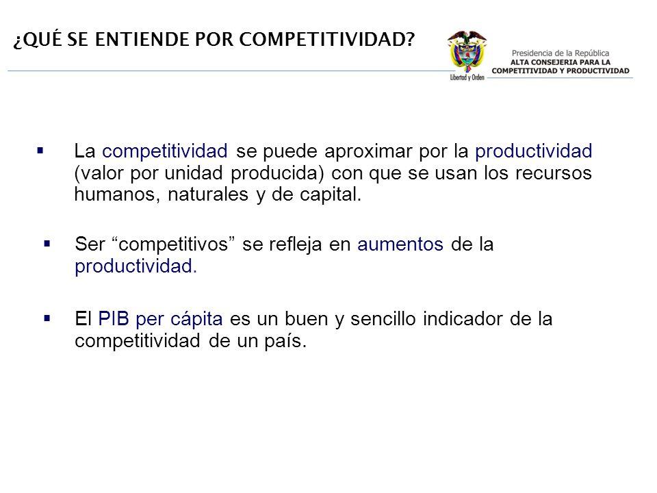¿QUÉ SE ENTIENDE POR COMPETITIVIDAD? La competitividad se puede aproximar por la productividad (valor por unidad producida) con que se usan los recurs
