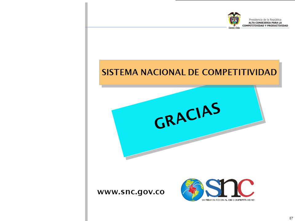 57 GRACIAS SISTEMA NACIONAL DE COMPETITIVIDAD www.snc.gov.co