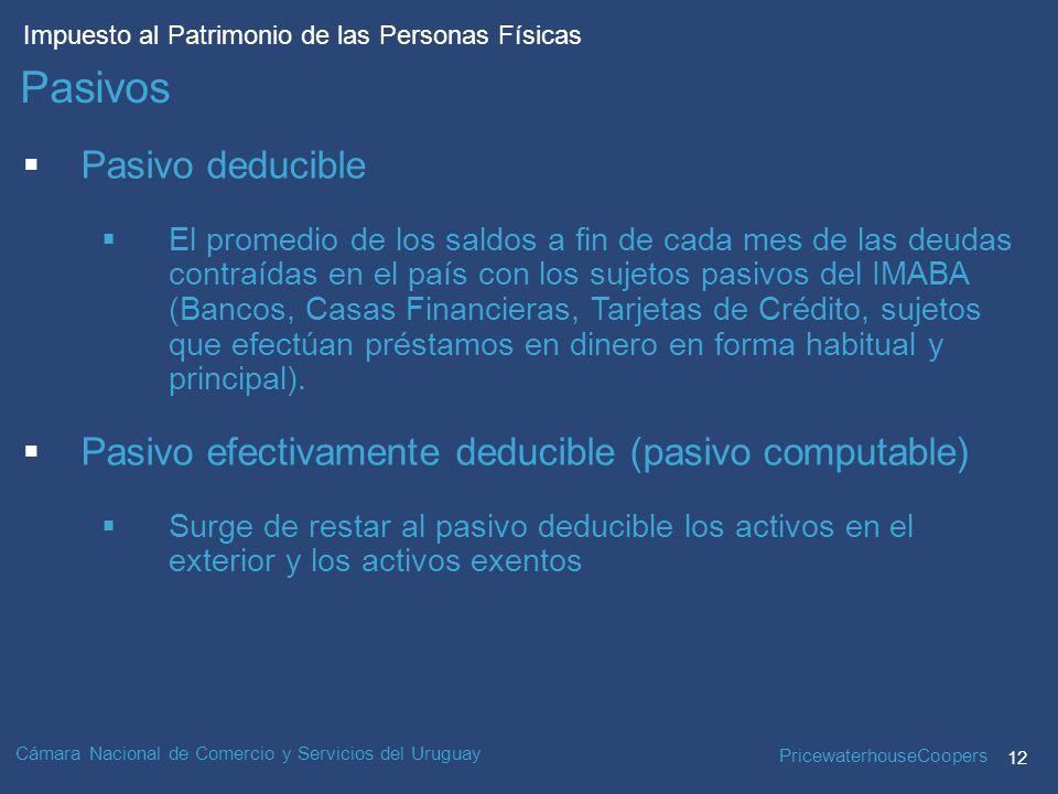PricewaterhouseCoopers 12 Impuesto al Patrimonio de las Personas Físicas Cámara Nacional de Comercio y Servicios del Uruguay Pasivo deducible El promedio de los saldos a fin de cada mes de las deudas contraídas en el país con los sujetos pasivos del IMABA (Bancos, Casas Financieras, Tarjetas de Crédito, sujetos que efectúan préstamos en dinero en forma habitual y principal).