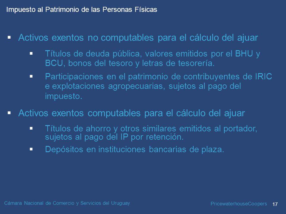 PricewaterhouseCoopers 17 Impuesto al Patrimonio de las Personas Físicas Cámara Nacional de Comercio y Servicios del Uruguay Activos exentos no computables para el cálculo del ajuar Títulos de deuda pública, valores emitidos por el BHU y BCU, bonos del tesoro y letras de tesorería.