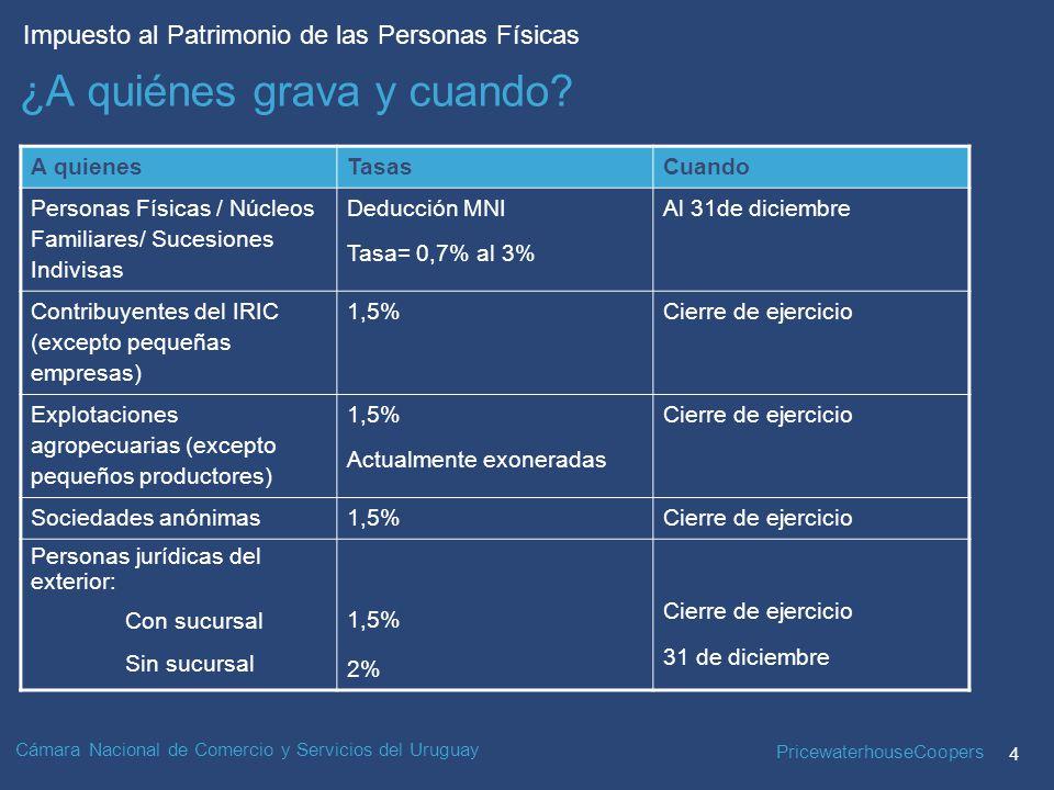 PricewaterhouseCoopers 4 Impuesto al Patrimonio de las Personas Físicas Cámara Nacional de Comercio y Servicios del Uruguay ¿A quiénes grava y cuando.