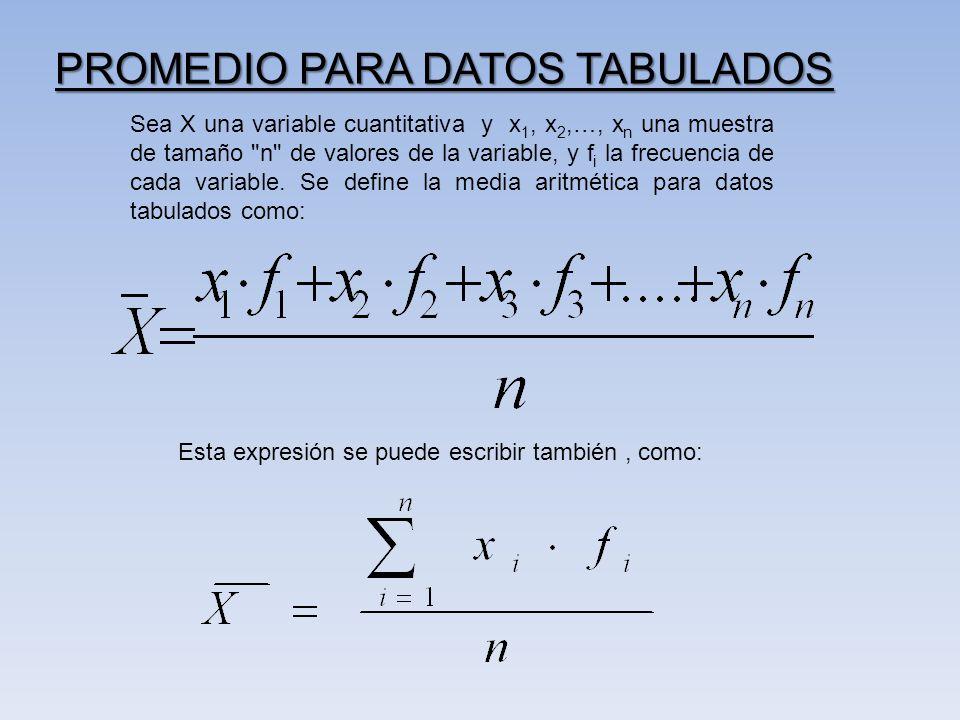 PROMEDIO PARA DATOS TABULADOS Sea X una variable cuantitativa y x 1, x 2,…, x n una muestra de tamaño n de valores de la variable, y f i la frecuencia de cada variable.