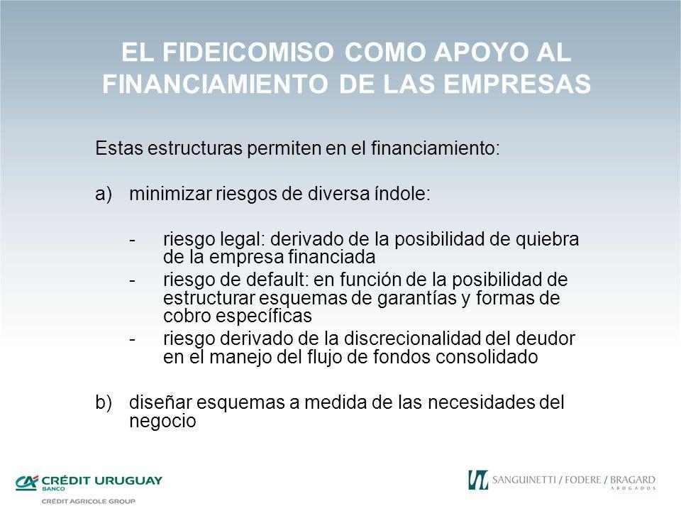 EL FIDEICOMISO COMO APOYO AL FINANCIAMIENTO DE LAS EMPRESAS Estas estructuras permiten en el financiamiento: a)minimizar riesgos de diversa índole: -r