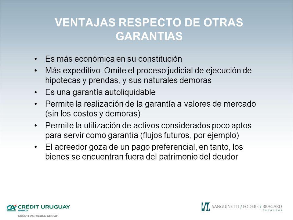 VENTAJAS RESPECTO DE OTRAS GARANTIAS Es más económica en su constitución Más expeditivo. Omite el proceso judicial de ejecución de hipotecas y prendas