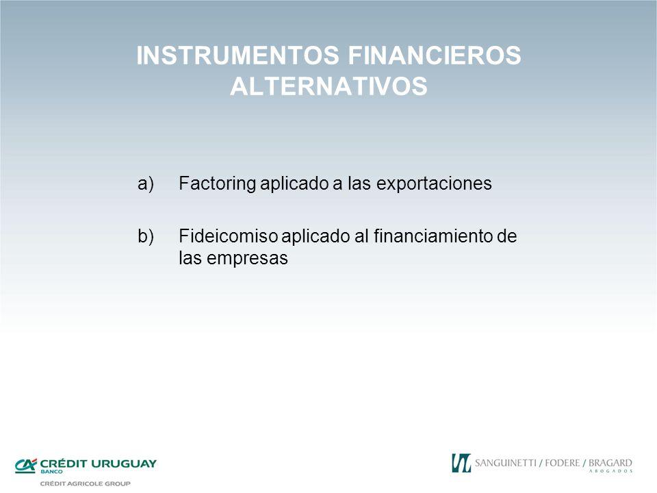 INSTRUMENTOS FINANCIEROS ALTERNATIVOS a)Factoring aplicado a las exportaciones b)Fideicomiso aplicado al financiamiento de las empresas
