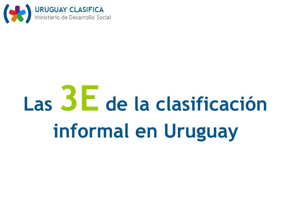 URUGUAY CLASIFICA Ministerio de Desarrollo Social Las 3E de la clasificación informal en Uruguay