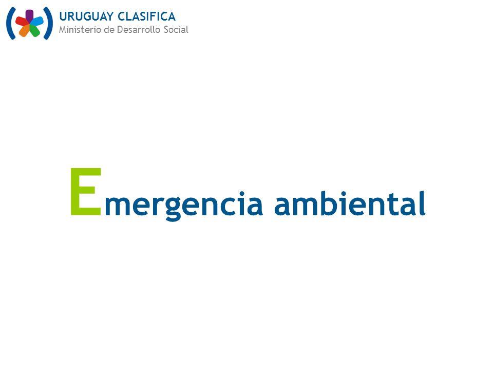 URUGUAY CLASIFICA Ministerio de Desarrollo Social E mergencia ambiental