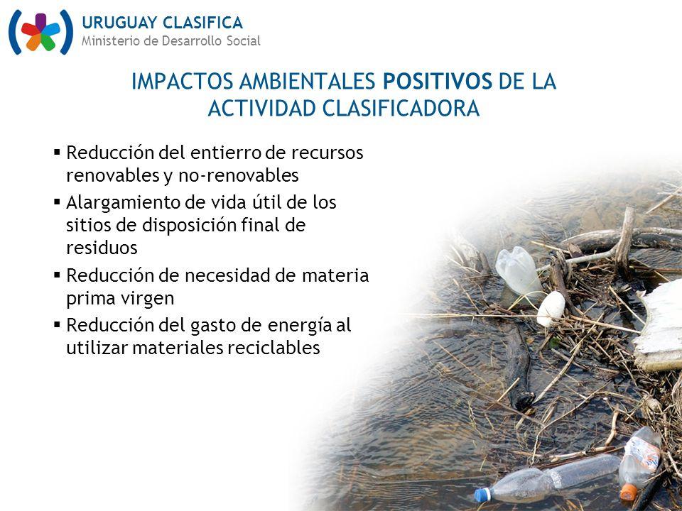 URUGUAY CLASIFICA Ministerio de Desarrollo Social Reducción del entierro de recursos renovables y no-renovables Alargamiento de vida útil de los sitio