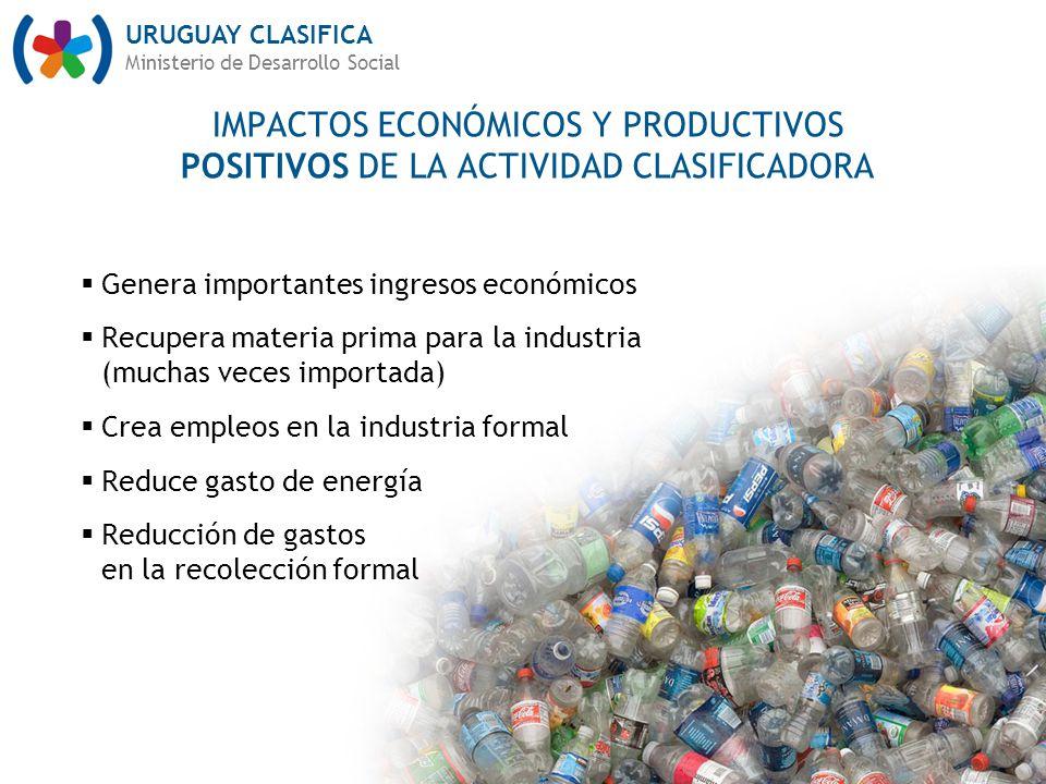 URUGUAY CLASIFICA Ministerio de Desarrollo Social Genera importantes ingresos económicos Recupera materia prima para la industria (muchas veces import