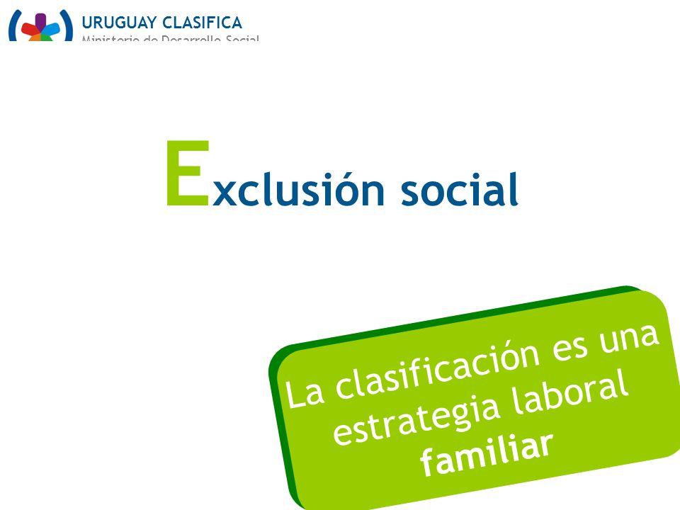 URUGUAY CLASIFICA Ministerio de Desarrollo Social E xclusión social La clasificación es una estrategia laboral familiar