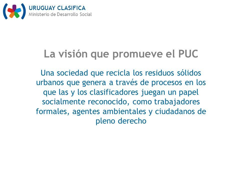 URUGUAY CLASIFICA Ministerio de Desarrollo Social La visión que promueve el PUC Una sociedad que recicla los residuos sólidos urbanos que genera a través de procesos en los que las y los clasificadores juegan un papel socialmente reconocido, como trabajadores formales, agentes ambientales y ciudadanos de pleno derecho