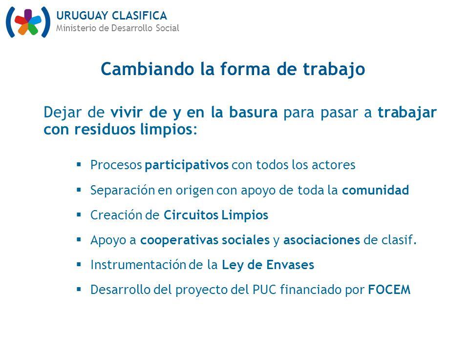 URUGUAY CLASIFICA Ministerio de Desarrollo Social Cambiando la forma de trabajo Dejar de vivir de y en la basura para pasar a trabajar con residuos li