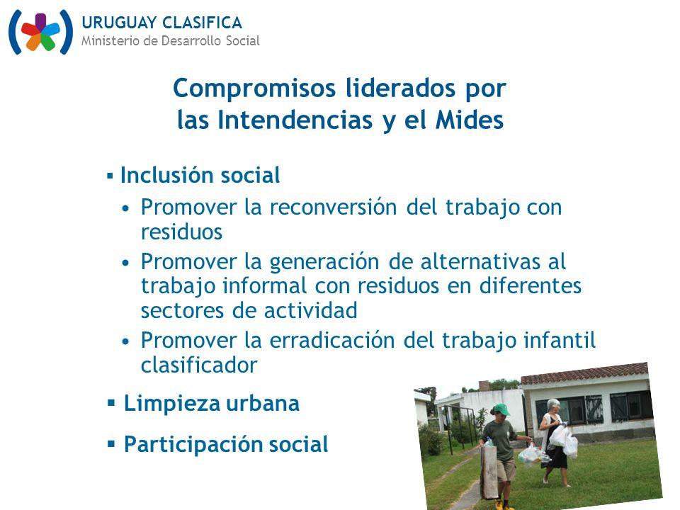 URUGUAY CLASIFICA Ministerio de Desarrollo Social Inclusión social Promover la reconversión del trabajo con residuos Promover la generación de alterna
